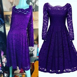 NWT Gigileer Vintage Purple Lace Retro Style Dress